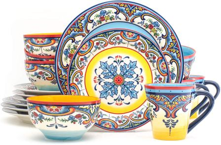 Zanzibar Collection Vibrant Dinnerware Set Multicolor- Euro Ceramica
