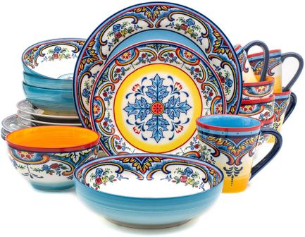 Zanzibar Collection Vibrant stoneware dinnerware set- Euro Ceramica