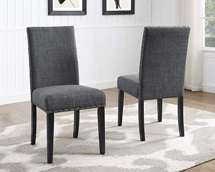 Roundhill Furniture Biony Gray Fabric Dining Chairs