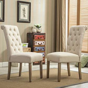 Roundhill Furniture Habit Solid Wood Tufted Parsons Dining Chair