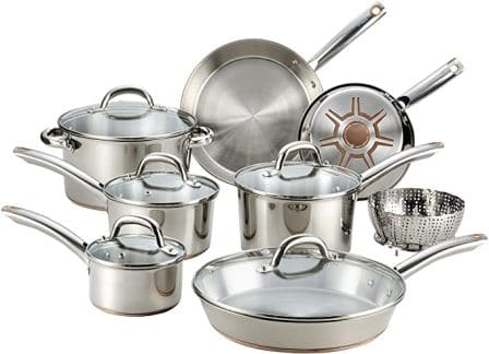 T-fal C836SD Ultimate Stainless Steel Copper-Bottom Heavy Gauge Cookware Set