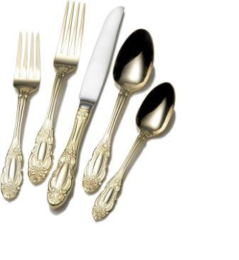 Wallace 5057902 Duchess Gold Plated 65-Piece Flatware Set