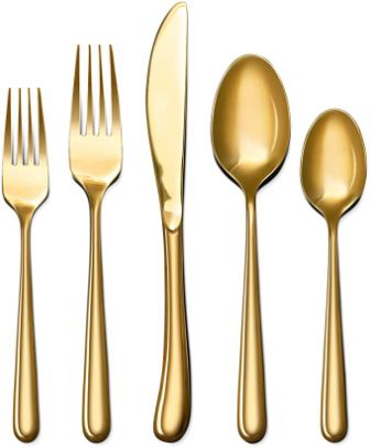Craft & Kin Hand-Forged Gold Silverware Flatware Set