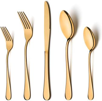 Gold Silverware Set – LIANYU 20-Piece Stainless Steel Flatware Cutlery Set for 4
