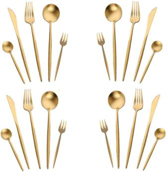 Gold Silverware Set,WOAIWO-Q Stainless Steel Flatware Set