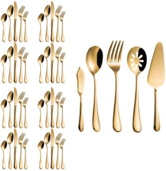 Magicpro Stainless Steel Flatware with Modern Royal 45-Pieces Gold