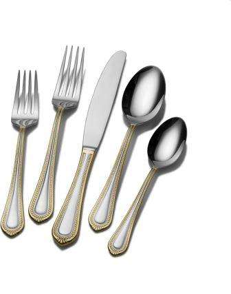Mikasa 5119760 Regent Bead Gold 65-Piece Stainless Steel Flatware Set