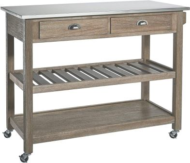 Ball & Cast Solano Wire-Brush Rubberwood Kitchen Cart