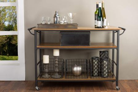 Baxton Studio Lancashire Wood and Metal Kitchen Cart