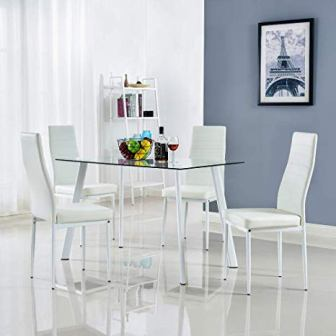 Bonnlo Dining Table with Chairs Dining Set of a Dining Room Table and Four Chairs