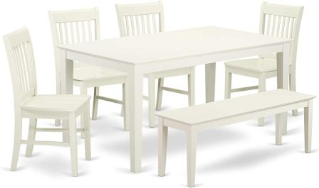 CANO6-LWH-W of Six-Piece Dining Set