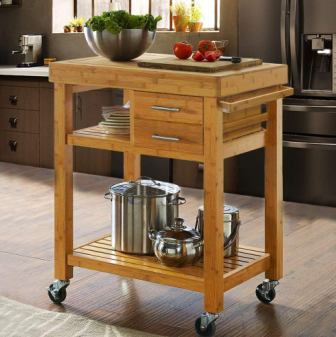 Clevr Rolling Bamboo Wood Kitchen Cart