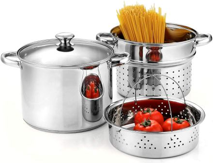 Cook N Home 02401, Stainless Steel Pasta Cooker Steamer Multi-pots