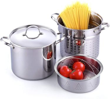 Cooks Standard Classic 4-Piece 12 Quart Pasta Pot Cooker Steamer Multi-pots, Stainless Steel