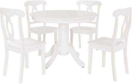 Dorel Living Aubrey Five Pieces of Traditional Height Pedestal Dining Set