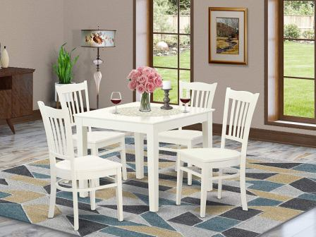 East West Furniture Five Pieces of Kitchen Table Set with a Table and Four Dinette Chairs