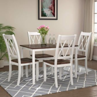 Five Pieces of Dining Table Set with Elegant Faux Marble Desk and 4 Upholstered PU Leather