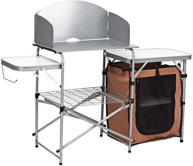 Giantex Folding Grill Table with Windscreen