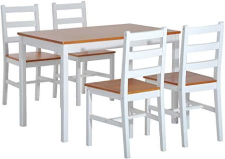HomCom Five Pieces of Solid Pine Wood Table and Chairs Dining Set