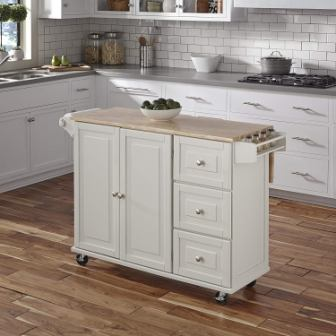 Liberty White Wood Top Kitchen Cart by Home Styles (Top Pick)