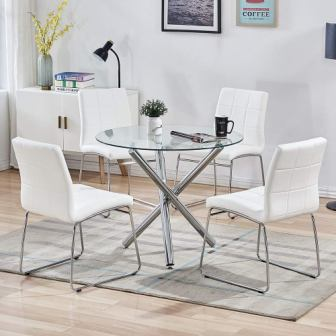 SICOTAS 5 Piece Round Dining Table Set with a Modern Kitchen Table and Chairs for Four