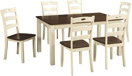 Signature Design by Ashley Woodanville Dining Table Set With Six Chairs and a Table