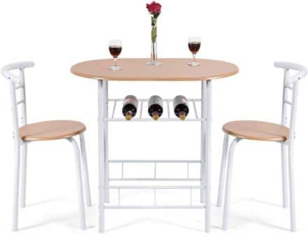 Three Pieces of Small Kitchen Table with a Kitchen Table and Two Dining Chairs