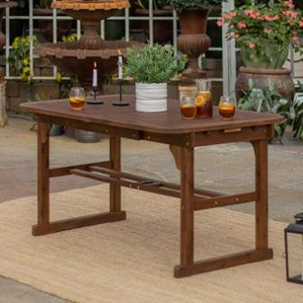 Walker Edison Solid Acacia Extendable Dining Table
