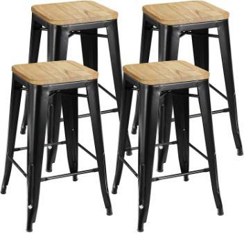 ZENY Set of 4 Metal Stackable Indoor/Outdoor Barstools