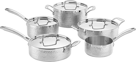 Cuisinart Hammered Collection Tri-Ply Stainless 9-Piece Cookware Set (HTP-9)