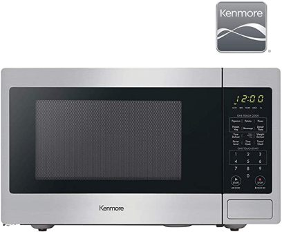 Kenmore 70923 ADA Compliant Compact Stainless Steel Microwave for Even Express Cooking and Quick Defrosting