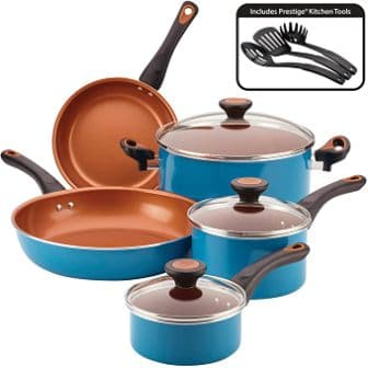 10-piece set of teal nonstick pans and pots