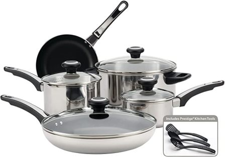12-piece stainless steel pans and pots