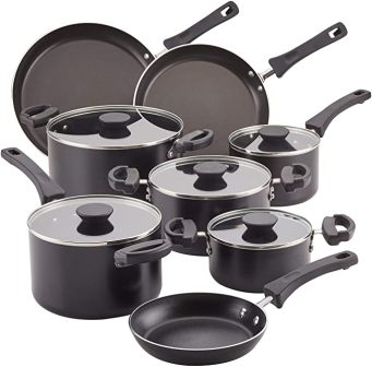 13-piece black nonstick pans and pots