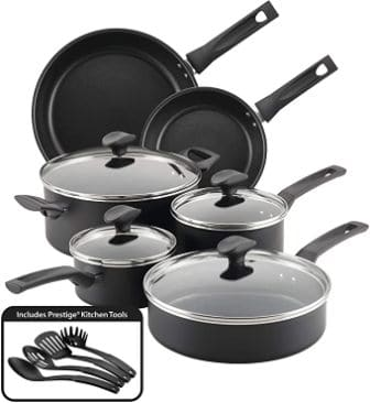 14-piece black nonstick pots and pans
