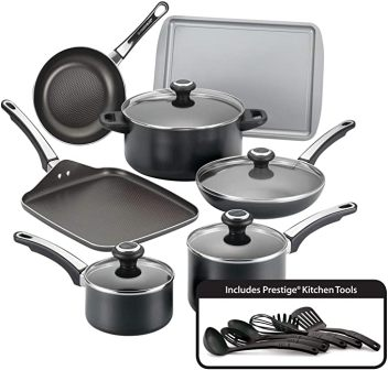 17-piece black nonstick high-performance cookware
