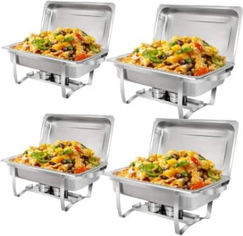 8Qt Stainless steel 4 Pack Full-Size Chafer Dish By Super Deal