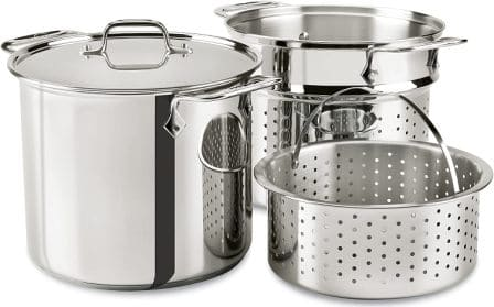 All-Clad E9078064 Stainless-Steel Multicooker with Perforated Insert and Steamer Basket