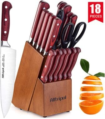 Alltripal Premium 18-Piece Kitchen Knife Set with Block
