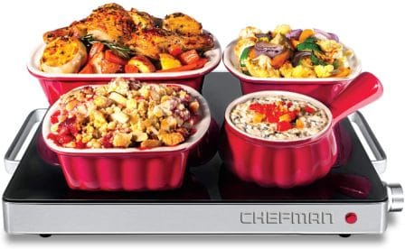 Chefman Compact Glass Top Warming Tray
