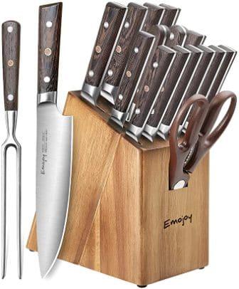 Emojoy 16-Piece Kitchen Knife Set with Block