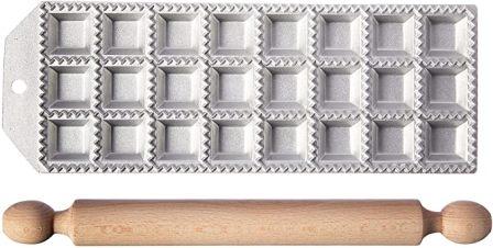 Eppicotispai Square Ravioli Maker with Rolling Pin (Top-pick product)