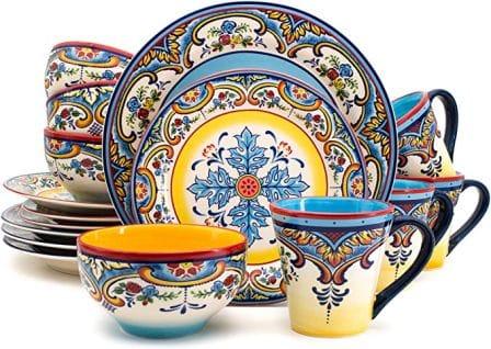 Euro Ceramica 16-Piece Spanish Floral Design Dinnerware Set (Zanzibar Collection)
