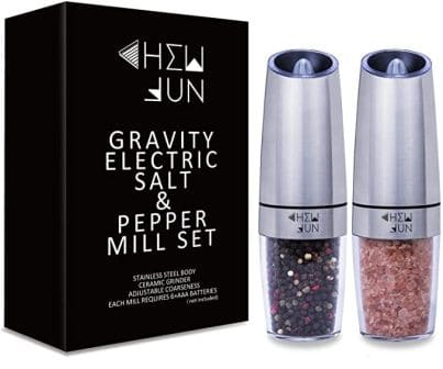 Gravity Electric Salt and Pepper Grinder Set by CHEW FUN