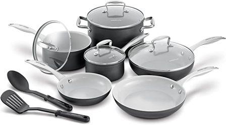 GreenLife Classic Pro Hard Cookware Set, 12pc, Light Grey
