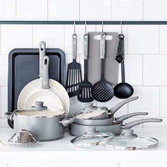 GreenLife Soft Grip Healthy Ceramic Non-stick Cookware Set, 18-Piece