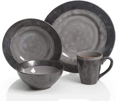 Grey Stoneware Dinnerware Set by Gibson Dragstone