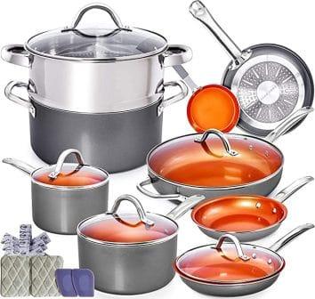 Home Hero Copper Pots and Pans 13 pc Set