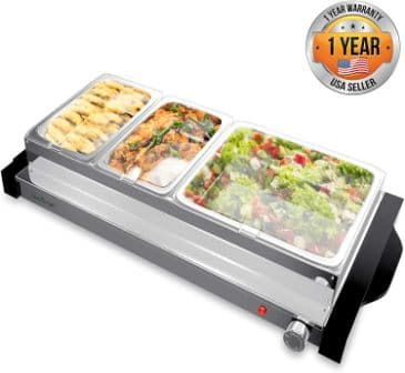 Hot Plate Food Warmer and Triple Buffet Server by NutriChef