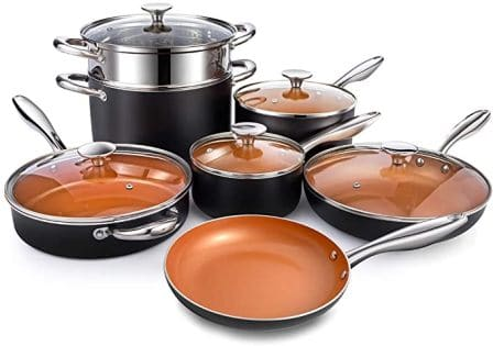 MICHELANGELO Copper Pots and Pans Set with Titanium coating